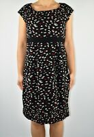 Hobbs Black Wool Aline Dress Scattered Spotty Spring Summer Office Size 12 BD