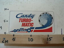 STICKER,DECAL CANDY TURBO-MATIC CANDY FORMULA ONE RACE CAR RARE STICKER VINTAGE