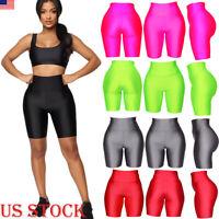 Womens Plain Gym Active Summer Cycling Shorts Basic Stretch Short Hot Pants US