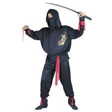 Mens Dark Ninja Fighter Fancy Dress Costume Adult Black Dragon Warrior Samurai