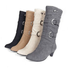 Womens Boots Comfort Low Heels Mid Calf Knee High Round Toe Casual Buckles Shoes