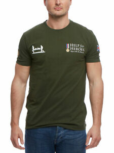 Help for Heroes Crew Neck T-Shirt Tee with Logo in Green