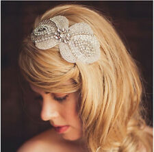 Vintage Beaded Bridal Headpiece Wedding headband White Floral Ribbon handmade