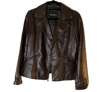 Guess Chocolate Brown Snakeskin Waist Length Leather Zip Jacket Size M