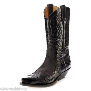 Sendra 3241 Man Cowboy Boots Black Leather Western Biker Handmade In Spain