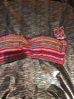 NWT Mossimo Womens Colorful Push Up Padded  Bikini Top, Size L