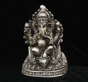 Tibetan Buddhism Fane Silver Ganapati Ganesh Lord Ganesha Elephant Buddha Statue
