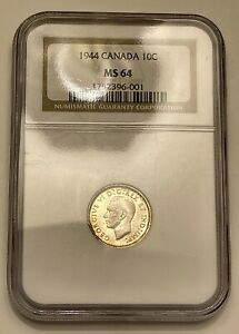 1944 Canada 10 Cent Silver NGC MS64 With Fabulous Toning