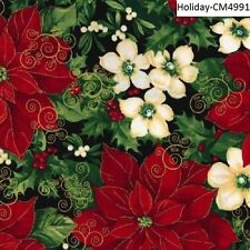 Christmas Poinsettias & Flowers cotton quilt fabric Timeless Treasures BTY