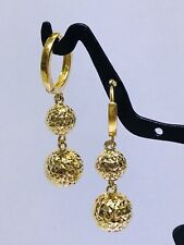 18k Solid Yellow Gold Hoop With 3D Diamond Cut Ball Dangling Earring
