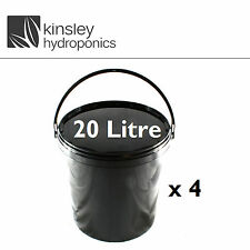 4x 20 Litre Plastic Bucket Sealed Nutrient Mixing Smell Proof Hydroponics pot