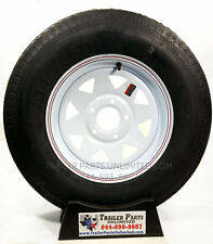 "NEW 15"" Trailer Tire and Wheel Mounted F78-15 White Spoke 5 x 5  ST 205 75 D15"