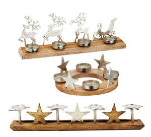 Adventskranz mit Stern Adventsleuchter Hirsch Aluminium Mangoholz 4 Kerzenhalter