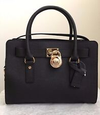 NWT Michael Kors Hamilton E/W Medium Saffiano Leather Tote Handbag Purse Black