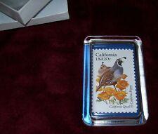 Paperweight Us Stamp Calif Quail & California Poppy 20 Cent Stamp