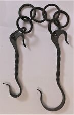 Great Small 18th Century Forged Iron Fireplace Chain Trammel Black Smith Made