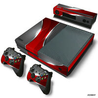 Xbox One Console Skin Decal Sticker Red and Chrome + 2 Controller Skins Set