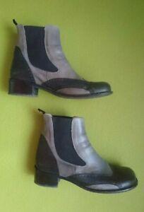 John W. Shoes Stiefel Stiefeletten Leder grau schwarz, Damen Gr. 43