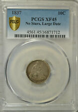 1837 Seated dime, No Stars, PCGS XF45