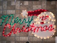 "Vintage Mr. Christmas Light Sculpture ""Merry Christmas"" With Santa 4 ft. Sign"