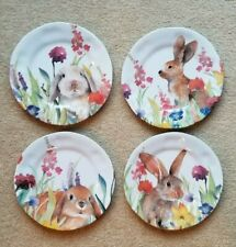 New listing New Easter Bunny Rabbit Spring Melamine Salad Plate Set of 4 - 9 inches