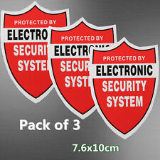 Pack of 3 PROTECTED BY ELECTRONIC SECURITY SYSTEM Stickers Decal Home Alarm