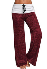 Women Yoga Pants Athletic Workout Foldover Stretch Casual Comfy Wide Trousers US