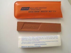 "Norton Whetstone in Orange Plastic w/ Flyer 4"" x 3/4"""