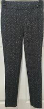 THEORY Grey Black Cream ADBELLE K Tweed Twill Stretch Leggings Trousers Pants S