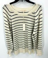 Rebecca Taylor Womens Ivory Striped Sweater Sz Large Wool Blend NWT