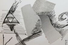 1991 Cubist Modernist Ink Collage Drawing Signed
