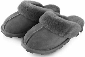 KIRKLAND SIGNATURE Women's Ladies Sheepskin Shearling Slippers ~ Gray ~Brown