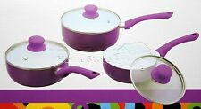 PRO 3pc Ceramic Cookware Set Saucepan Pot With Lids Frying Induction Pan Purple