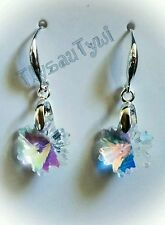 Sparkly Snowflake earrings..silver plated hallmarked..GlassAB