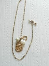 Fashion toggle  Necklace-circular pendant heart & crown. pearl beads gold tone