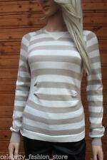Maglioni e cardigan da donna a righe in lana con girocollo