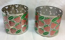 Pillar Candle Holder  Bath and Body Works 3-Wick Candles, Strawberry Design.