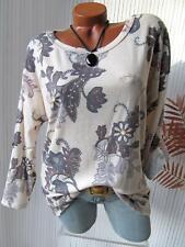 Hübsches Feinstrick Long Shirt Pulli Tunika Ranken Blumen Lurex 36 38 40 creme