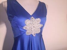 Unique Evening Gown XS 1970s Vintage Blue Satin Matching Cape Beaded Center