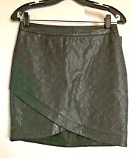 MOSSIMO Black Faux Leather SKIRT Size 2 NWT Wrap Tiered Asymmetrical