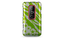 For Sprint HTC EVO 3D Protector HARD Case Snap on Phone Cover Green Star Zebra
