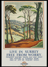 A3 Size - Live in Surrey Railway Travel GIFT / WALL DECOR ART PRINT POSTER