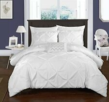Chic Home 4 Piece Daya Pinch Pleated Complete Duvet Cover Set  King, White