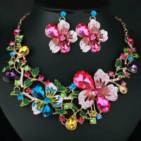 Collar Flower Necklace Fashion Pendant Jewelry Crystal Statement Chunky xcv SKB