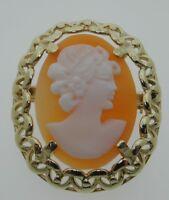 Vintage 9 carat gold shell cameo pin 26.4mm brooch 3.9 grams full hallmark 1984