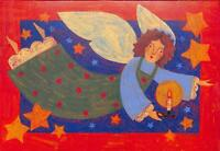 """American Greetings Artistic Angel """"Joy to the World"""" Christmas Cards, 16 Pack"""