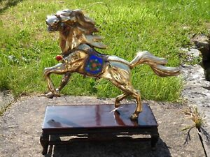 LARGE VINTAGE CHINESE 925 SILVER GILT ENAMELLED JEWELLED HORSE