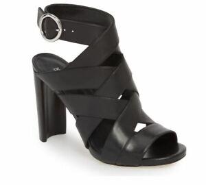 MICHAEL Michael Kors Alana Sandal Black Leather Heels Women's 10