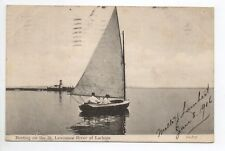 CANADA carte postale ancienne Boating on the st lawrence river at Lachine voile