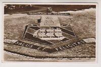Devon postcard - Floral Coat of Arms, Abbey Gardens, Torquay - RP - P/U 1950